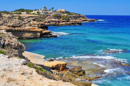 sant: view of the cliffy coast of Sant Josep, in the South-West of Ibiza Island, Spain