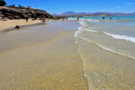 seawater: detail of the clear seawater of the Atlantic Ocean in Sotavento Beach in Fuerteventura, Canary Islands, Spain
