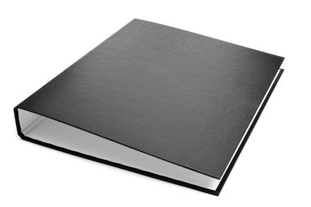 白い背景の上の新しい黒リング バインダー 写真素材