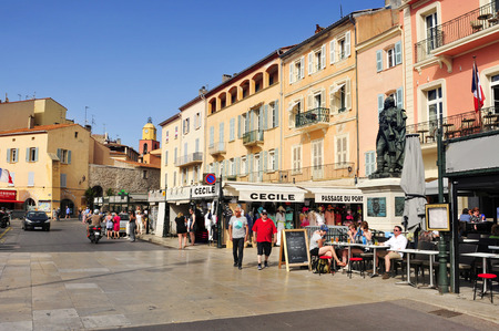 tropez: Saint-Tropez, France - May 13, 2015: A view of the Quai Suffren in Saint-Tropez, France. Saint-Tropez is a famous destination for European and Worldwide tourists in the French-Riviera
