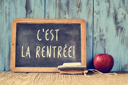 cross recess: a chalkboard with the text cest la rentree