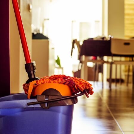 homemaking: closeup of a microfiber mop in the dryer of a bucket ready to clean the floor