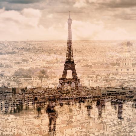 multiple exposure: esposizione multipla di immagini diverse di Parigi, in Francia, e la famosa Torre Eiffel