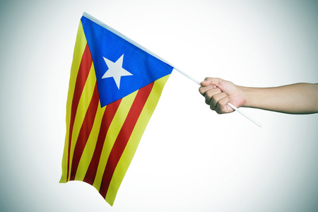 separatist: closeup of a young man with the Estelada, the Catalan pro-independence flag, in his hand, with a slight vignette added