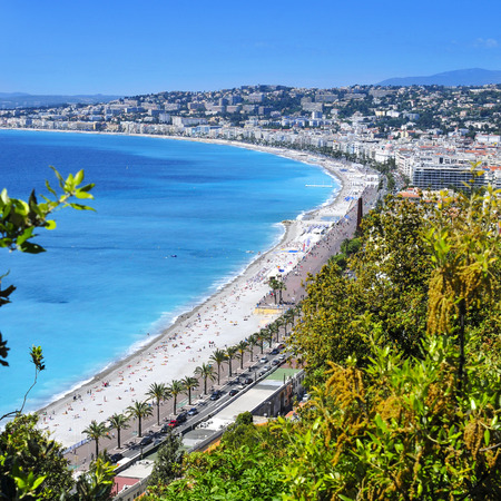 bordering: aerial view of the Baie des Agnes bay in Nice, France, and the Promenade des Anglais bordering the Mediterranean Sea