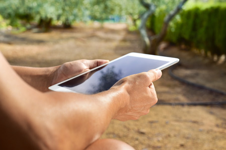 hombre caucasico: closeup of a young caucasian man using a tablet computer outdoors in a natural landscape in a sunny day Foto de archivo
