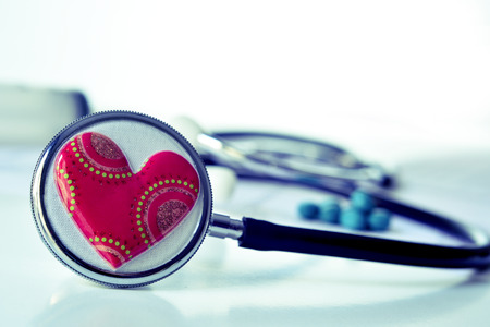 cardiovascular: closeup of a red heart on a stethoscope for the cardiovascular health
