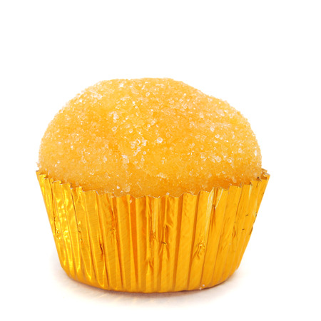 white eggs: closeup of a yema de santa teresa, a typical confection of Spain, on a white background