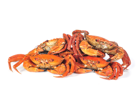 shellfish: some raw velvet crabs on a white background