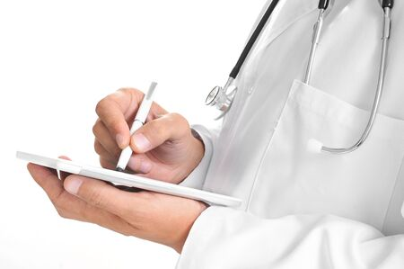 stylus pen: closeup of a doctor man using a stylus pen in a tablet computer