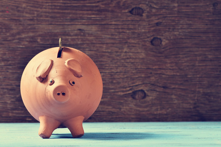an earthenware piggy bank with a coin in his hole, on a blue rustic surface Stok Fotoğraf - 47553468
