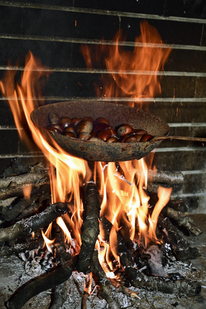 log fire: a pen with chestnuts being roasted in the flames of a log fire Stock Photo