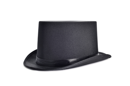 stove pipe: an elegant black top hat on a white background