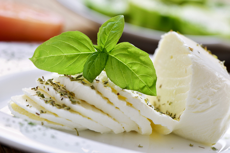 ricotta cheese: closeup of a plate with a sliced fresh cheese