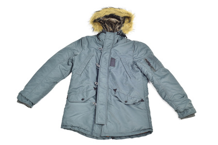 warmer: a warmer green parka with a fur lined hood on a white background