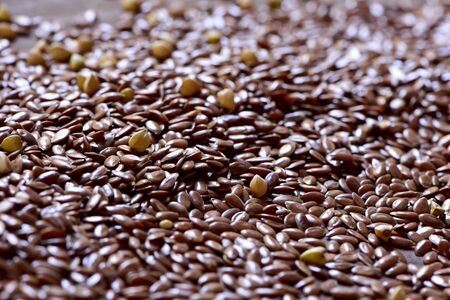 common flax: closeup of a pile of brown flax seeds
