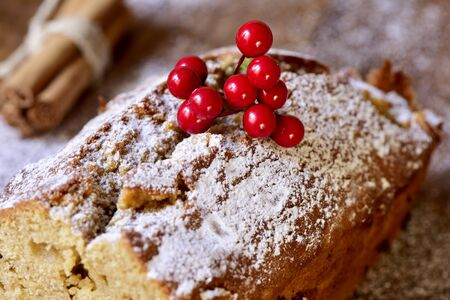 fruitcake: closeup of a fruitcake for christmas time sprinkled with icing sugar Stock Photo