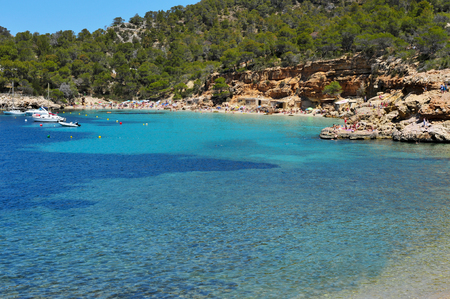 antonio: a panoramic view of Cala Salada beach in San Antonio, Ibiza Island, Spain Stock Photo