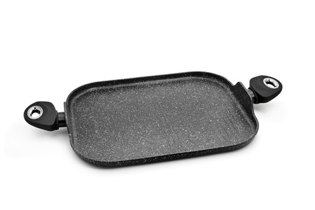 nonstick: a non-stick iron cast grill pan with two handles on a white background