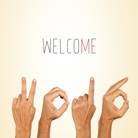 0 1 year: Text welcome 2016 with man hands forming the number 2016 Stock Photo