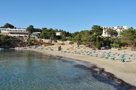 sant: a view of the Cala Portinatx beach in Sant Joan de Labritja, Ibiza Island, Spain