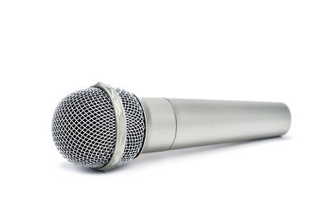 microfono de radio: un micr�fono inal�mbrico sobre un fondo blanco Foto de archivo