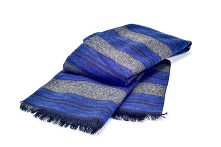 white colour: a warm gray and blue scarf on a white background Stock Photo