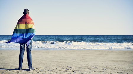 rainbow flag: a young caucasian man seen from behind wrapped in a rainbow flag looking at the ocean
