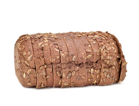 rye bread: a sliced loaf of rye bread on a white background