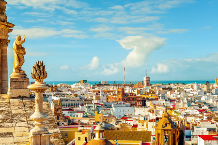 cadiz: an aerial view of the roofs of Cadiz, Spain, from the belfry of its Cathedral Stock Photo