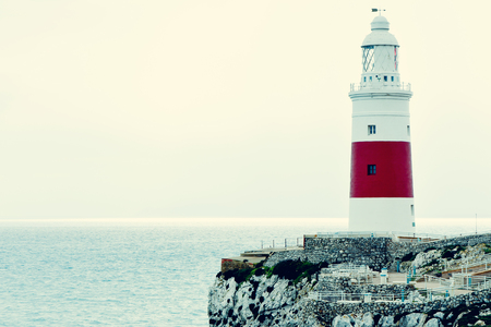 europa: a view of the Trinity Lighthouse at Europa Point, in Gibraltar, and the Mediterranean sea