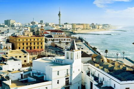 bordered: aerial view of Cadiz, in Spain, bordered by the Mediterranean sea