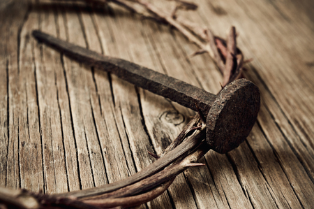 crucify: a depiction of the crown of thorns of Jesus Christ and a nail, on the Holy Cross