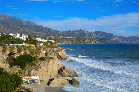 coastlines: a view of the northern coast of Nerja, at the Mediterranean sea, in the Costa del Sol, Spain, with the Calahonda beach in the foreground