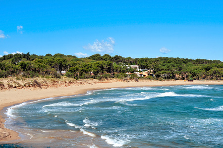 rec: a view of the Rec del Moli beach in La Escala, in the Costa Brava, Spain