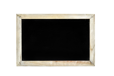 black and white background: a blank blackboard with a rustic wooden frame on a white background Stock Photo