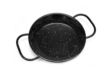 stew pan: high-angle shot of an empty spanish paella pan on a white background