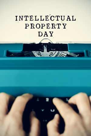 essayist: the text intellectual property day written in a paper with a retro typewriter Stock Photo