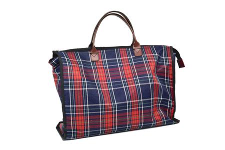 consumerist: a plaid shopping bag on a white background
