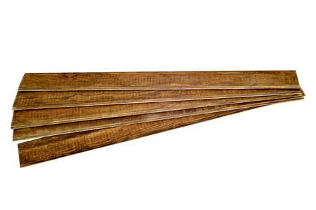 tongue and groove: some rustic wooden planks on a white background