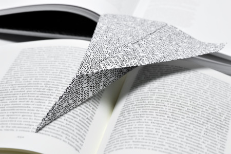 nonsense: closeup of a paper plane, made with a printed paper with non-sense words, on an open book Stock Photo