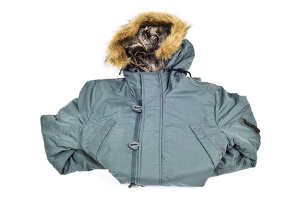 parka: a warmer green parka with a fur lined hood on a white background