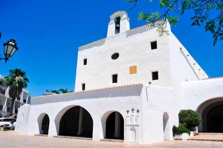 josep: a view of the whitewashed facade of Sant Josep Church, built in 1727, in Sant Josep de Sa Talaia, in Ibiza Island, Balearic Islands, Spain Stock Photo