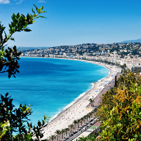 des: aerial view of the Baie des Agnes bay in Nice, France, and the Promenade des Anglais bordering the Mediterranean Sea