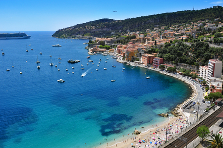villefranche sur mer: aerial view of Villefranche-sur-Mer in the French Riviera, France, and the Mediterranean sea Stock Photo