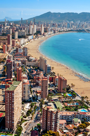 vacationers: aerial view of Benidorm and its iconic skyscrapers in Playa Poniente area, in Valencian Community in Spain Stock Photo