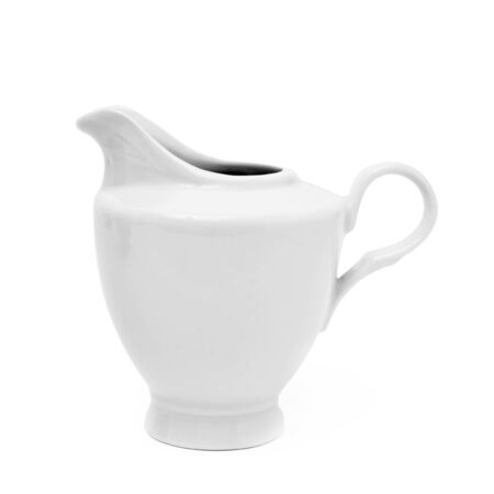 milk jug: closeup of a white ceramic creamer or saucier on a white background