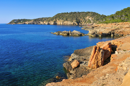 mediterranean coast: a view of the Mediterranean Sea and a cliffy landscape of the northeastern coast of Ibiza Island, in the Balearic Islands, Spain