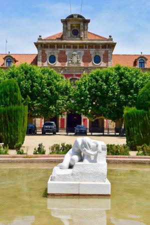 a view of the facade of the Parliament of Catalonia, in the Parc de la Ciutadella, Barcelona, Spain Editorial