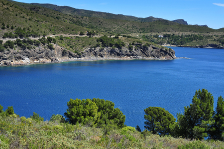 seawater: a view of the coast of the Costa Brava, Catalonia, Spain, with a clear blue seawater